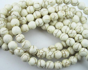 1 string 15inch 6MM round TURQUOISE white ivory stone beads,ivory loose beads,ivory beads strand 3120014