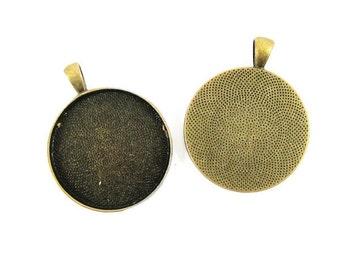 5pcs 30mm setting size vintage alloy antique bronze round pendant bezels tray 1411027