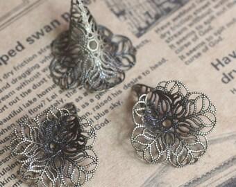 20Pcs 28x23MM bronze brass flower cap,bronze beads cap for earring 1561005