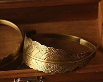 2pcs vintage brass bracelet blank,original raw brass braclet cuff,feather bracelet 1900015