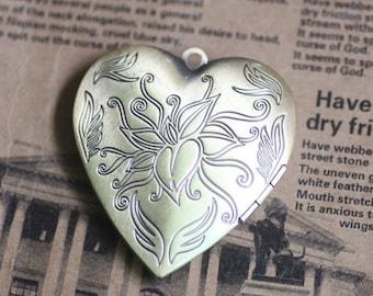 5pcs 40MM vintage love flower brass bronze heart locket,locket pendant,photo locket 1131027