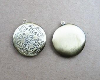 5PCS Pendant DIY Brass Bronze Copper Round Flower Photo Locket 1111005
