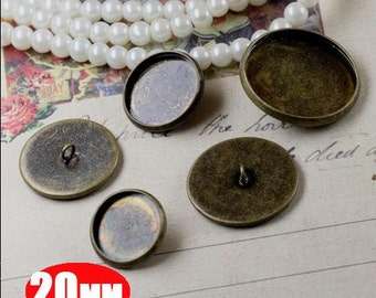 10pcs 20MM bronze brass button,button base setting,button base tray,button tray,DIY button 1581007-5