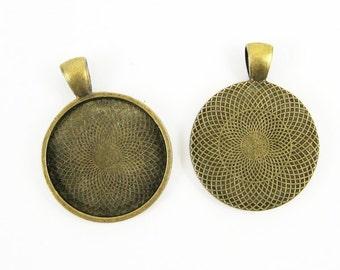5pcs 25mm setting size vintage alloy antique bronze round pendant bezels tray 1411028