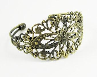 2pcs vintage brass oval base tray bracelet blank,antiqued bronze braclet cuff 1900010