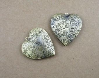 wholesale 5pcs vintage brass bronze locket pendant,photo locket,heart locket 1131001