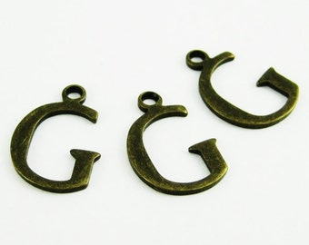 10pcs 15x10mm vintage kawaii metal alphabet letter G bronze brass pendant charm packs assortment 1810062