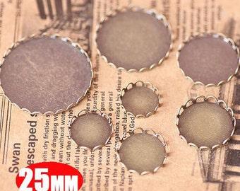 20Pcs 25MM vintage round pendant setting,vintage bronze pendant base setting1411011-5