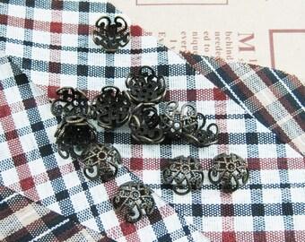 100x 9mm vintage bronze flower cap,bronze beads cap,vintage beads cap,brass beads cap1561002