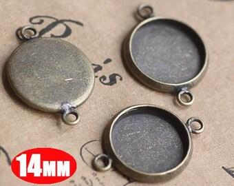 20Pcs 14MM vintage brass round pendant setting,vintage bronze pendant base setting 1411012-2