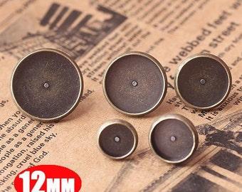 10pcs 12MM vintage brass bronze earrings stud,earrings base setting,vintage earrings,vintage jewelry1701004-2