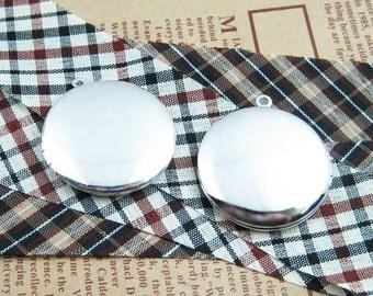 wholesale 5pcs 33MM vintage brass silvery round locket pendant,photo locket,photolocket,1112003