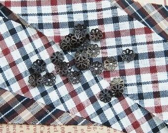 100x 6mm vintage bronze flower cap,bronze beads cap,vintage beads cap,brass beads cap1561001