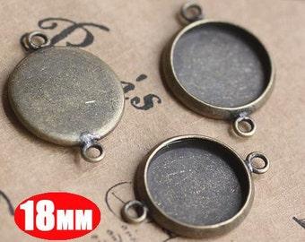 20Pcs 18MM vintage brass round pendant setting,vintage bronze pendant base setting 1411012-4