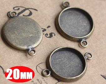 20PCS 20MM vintage brass round pendant setting,vintage bronze pendant base setting 1411012-5