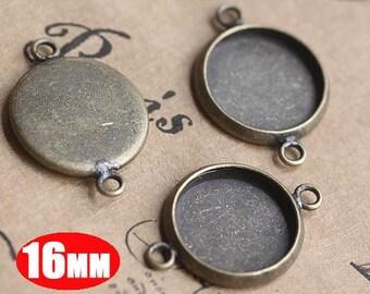 20Pcs 16MM vintage brass round pendant setting,vintage bronze pendant base setting 1411012-3