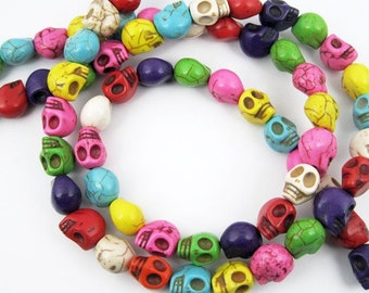 22pcs 18MM mixed color skull stone beads,skull loose beads,skull beads strand 3000002