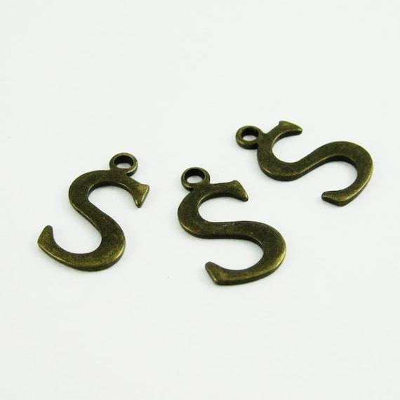 10pcs 15x10mm vintage kawaii metal alphabet letter S bronze brass pendant charm packs assortment 1810074