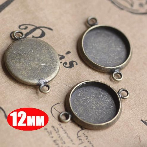 20Pcs 12MM vintage brass round pendant setting,vintage bronze pendant base setting 1411012-1