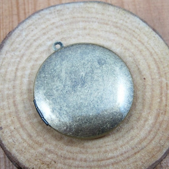 5pcs 33MM round photo locket,vintage brass bronze lockets,DIY setting locket,engraved locket 1111029