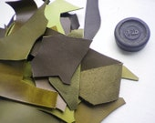 1 Lb bag of quality leather scraps, Mixed greens