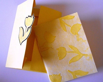INTIMATE NOTES - made with handmade yellow paper with embossed tulips