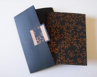 INTIMATE NOTES - made with black handmade paper, bronze vine design