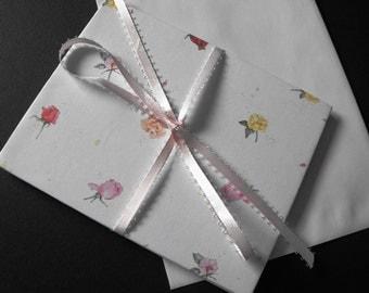 SOUVENIR KEEPSAKE - handmade gift card of roses on white