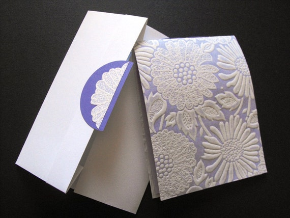 INTIMATE NOTES - made with handmade paper in lilac, white floral