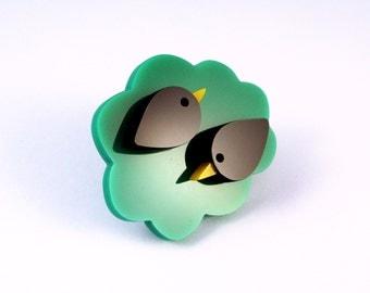 Two in a Bush - hand cut acrylic bird brooch
