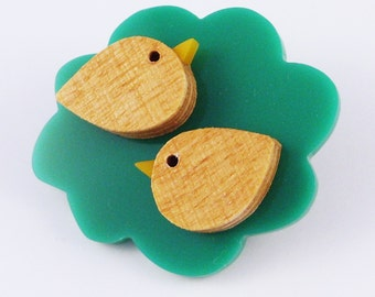 Two in a Bush - hand cut wooden birds and perspex brooch by I Am Acrylic