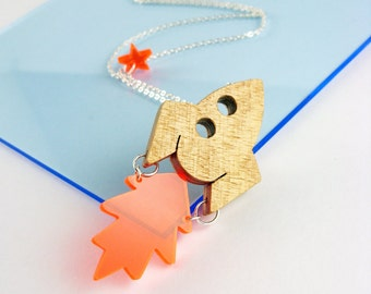 Rocket & Flame necklace handmade from wood and perspex by I Am Acrylic