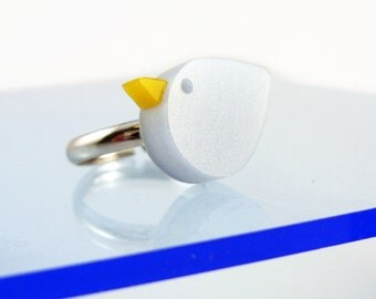 Perspex Blue Bird Ring - handmade by I Am Acrylic