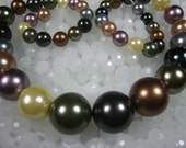 Multi Color South Sea Shell Pearl Graduated Round Bead 16-8mm 18 inches Strand