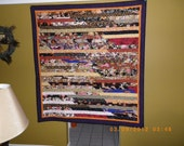 Asian inspired colorful strip quilt 60x65.