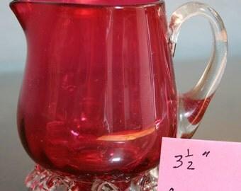 Cranberry Glass Creamer - Circa 1900 -Cape Cod