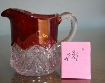 Cranberry-Ruby Stained Creamer Circa 1890 to 1915-Antique