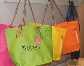 Personalized Embroidered Bright Colored Lightweight Tote