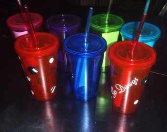 Acrylic Doublewall 16 oz Straw Tumbler with lid personalized just for you in multiple colors