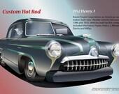 "Car Art Digital Illustration of 1952 Henry J 10""X14"""
