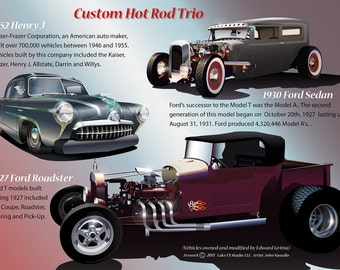 Gift Art Digital Car Illustration of Custom Hot Rod Trio with Labels and Descriptive Captions