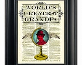 Worlds Greatest... Antique Globe Wings Mustache Art Print Illustration on Beautiful Upcycled Antique 1800s Dictionary Book Page Print