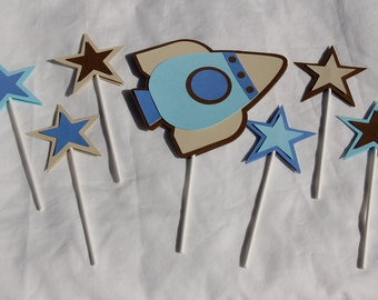 Rocket and Star Cake Toppers