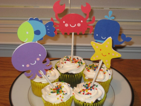 Underwater Aminal Cupcake Toppers