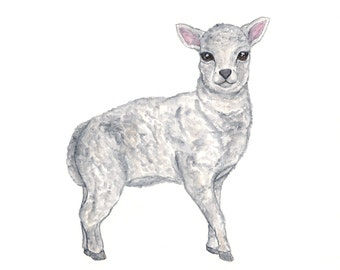 Watercolor animal art, lamb nursery art, watercolor nursery art, farm animal art, watercolor lamb, baby animal art, lamb painting, 10X8