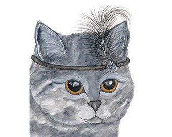 Cat art, cat painting, watercolor cat, watercolor painting, flapper head band, watercolor animals, cat print, cat illustration, 8X10 print