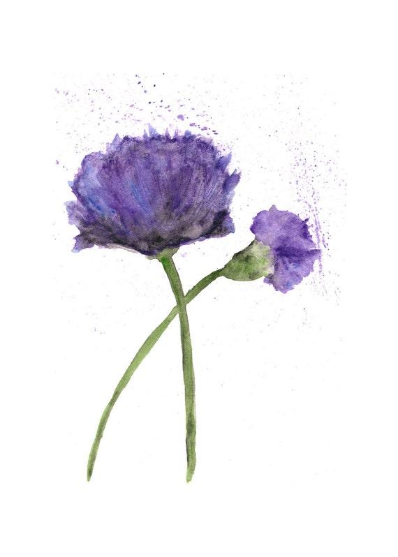 Watercolor Flower Painting Purple Poppies Flower Art