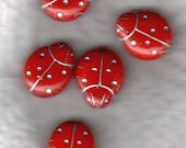 Czech Seed Beads Lady Bug Red Glass Silver Inlay - 5 Beads