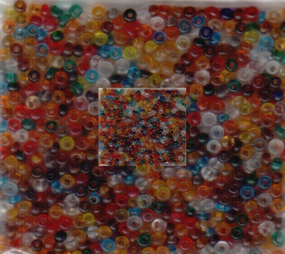 Czech Seed Beads 10/0 Transparent Multi Colored Seed Beads 10 grams approx 1000 seed beads