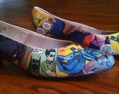 Comic Slip-on Shoes with small wedge heel